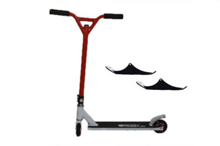 Easy People Stunt Scooter Cross Colors Red Handlebar with White Deck with Skis