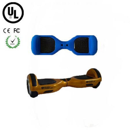 Easy People Hoverboard Gold Two Wheel Self Balancing Motorized Scooter with Blue Silicone Case