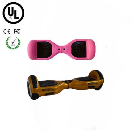 Easy People Hoverboard Gold Two Wheel Self Balancing Motorized Scooter with Pink Silicone Case