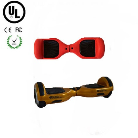 easy people hoverboard gold two wheel self balancing motorized scooter with red silicone case