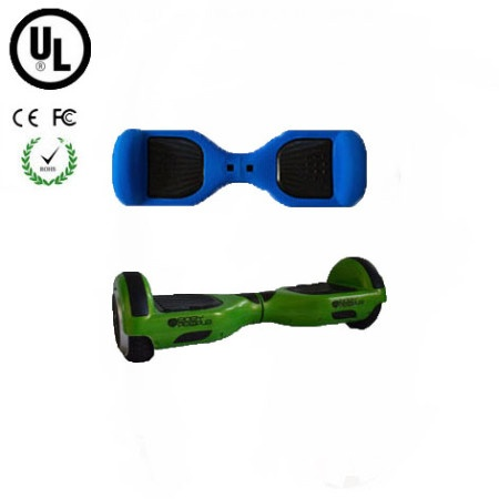 Easy People Hoverboard Green Two Wheel Self Balancing Motorized Scooter with Blue Silicone Case