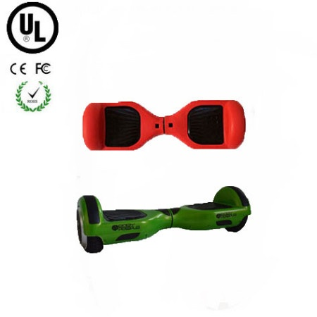 Easy People Hoverboard Green Two Wheel Self Balancing Motorized Scooter with Red Silicone Case