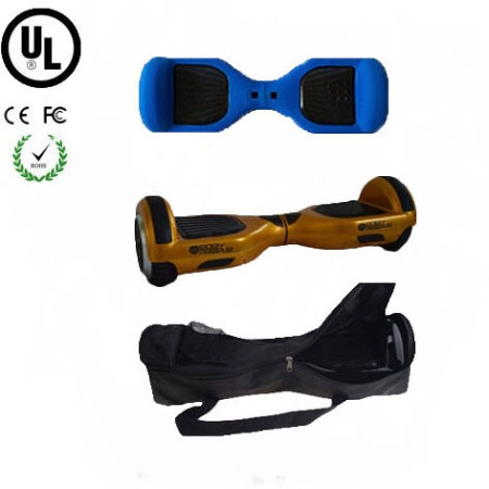 Easy People Hoverboard Gold Two Wheel Self Balancing Motorized Scooter with Blue Silicone Case + Bag