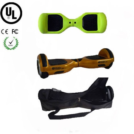 Easy People Hoverboard Gold Two Wheel Self Balancing Motorized Scooter with Green Silicone Case +Bag