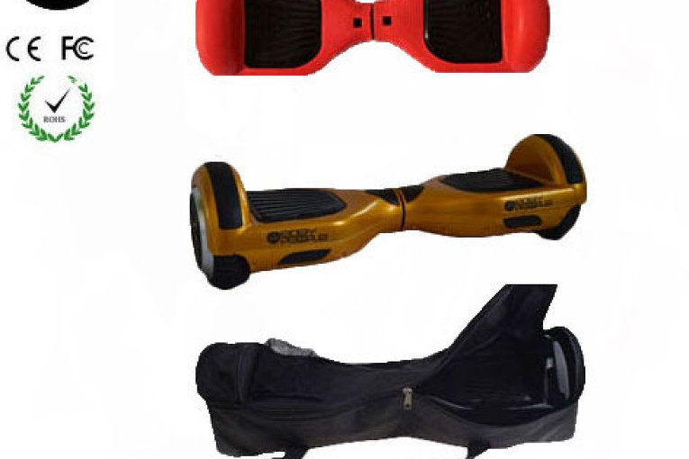 Easy People Hoverboard Gold Two Wheel Self Balancing Motorized Scooter with Red Silicone Case + Bag