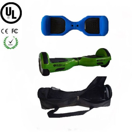 Easy People Hoverboard Green Two Wheel Self Balancing Motorized Scooter with Blue Silicone Case +Bag