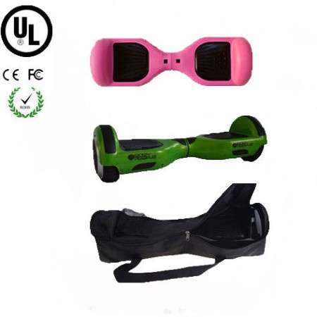 Easy People Hoverboard Green Two Wheel Self Balancing Motorized Scooter with Pink Silicone Case+ Bag