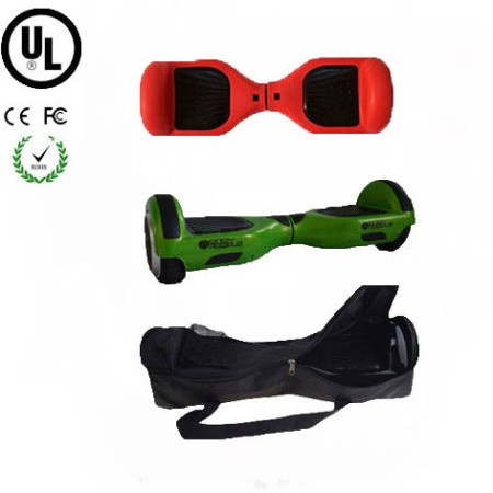Easy People Hoverboard Green Two Wheel Self Balancing Motorized Scooter with Red Silicone Case + Bag