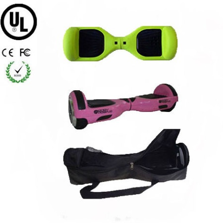 Easy People Hoverboard Pink Two Wheel Self Balancing Motorized Scooter with Green Silicone Case+ Bag