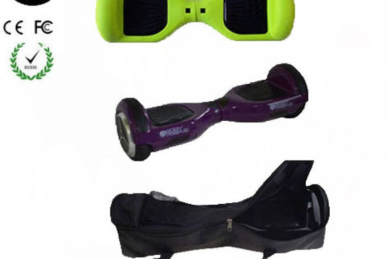 Easy People Hoverboard Purple Two Wheel Self Balancing Motorized Scooter with Green Silicone Case + Bag