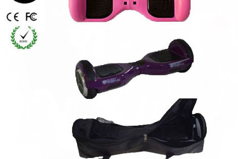 Easy People Hoverboard Purple Two Wheel Self Balancing Motorized Scooter with Pink Silicone Case + Bag